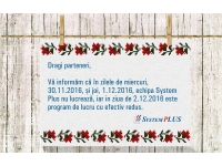System Plus - partener HP, DELL si EMC in Romania  : Program 1 Decembrie 2016